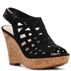 Franco Sarto Sassy Black Wedge Cork Cutout Sandals